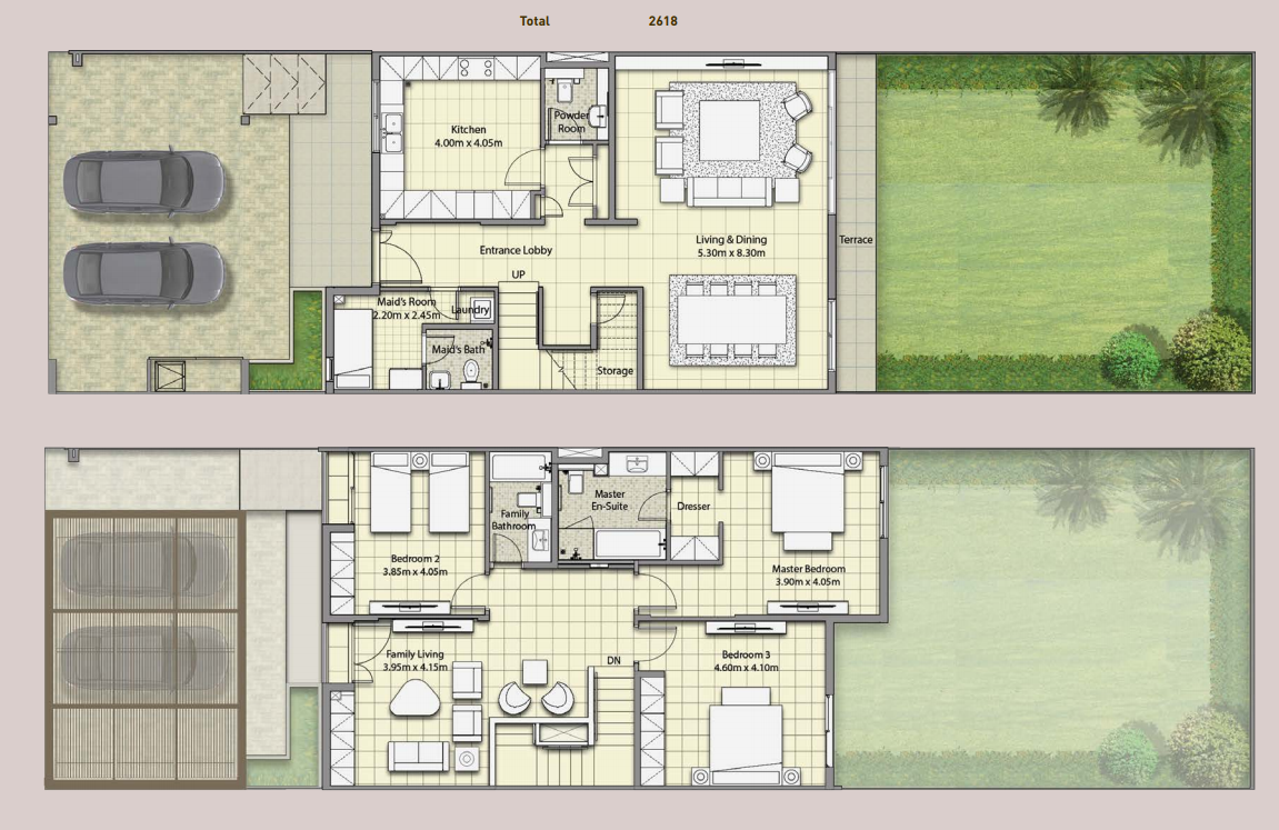 Planning of the apartment Villas, 2618 in Al Narjis Townhouses Phase 3, Sharjah