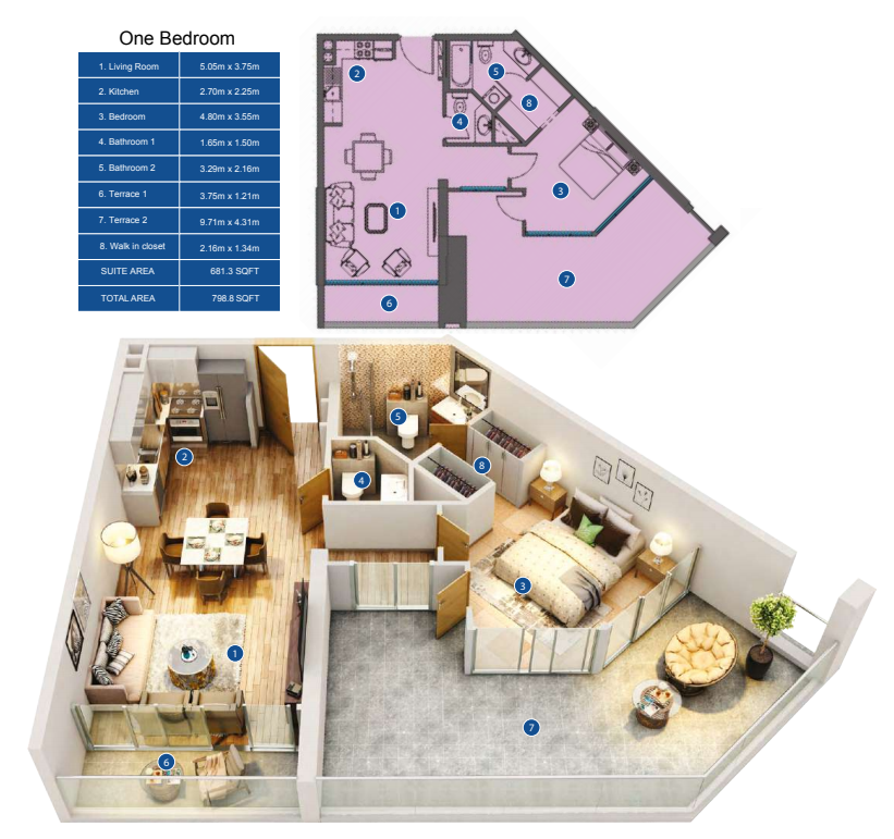 Planning of the apartment 1BR, 798.8 in Park Avenue by Azizi, Dubai