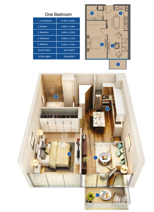 Planning of the apartment 1BR, 584.6 in Park Avenue by Azizi, Dubai