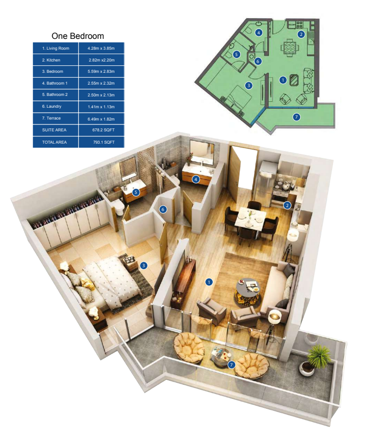 Planning of the apartment 1BR, 793.1 in Park Avenue by Azizi, Dubai