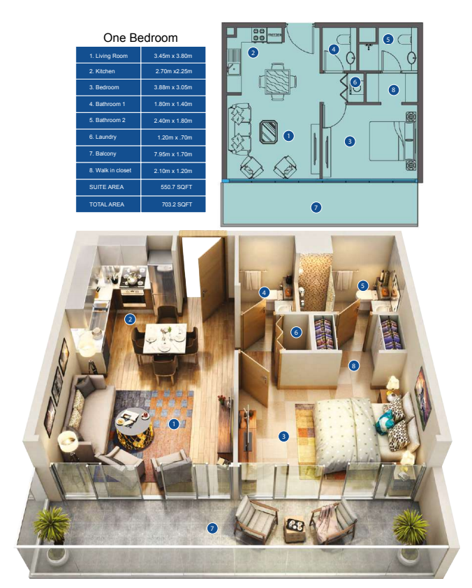 Planning of the apartment 1BR, 703.2 in Park Avenue by Azizi, Dubai