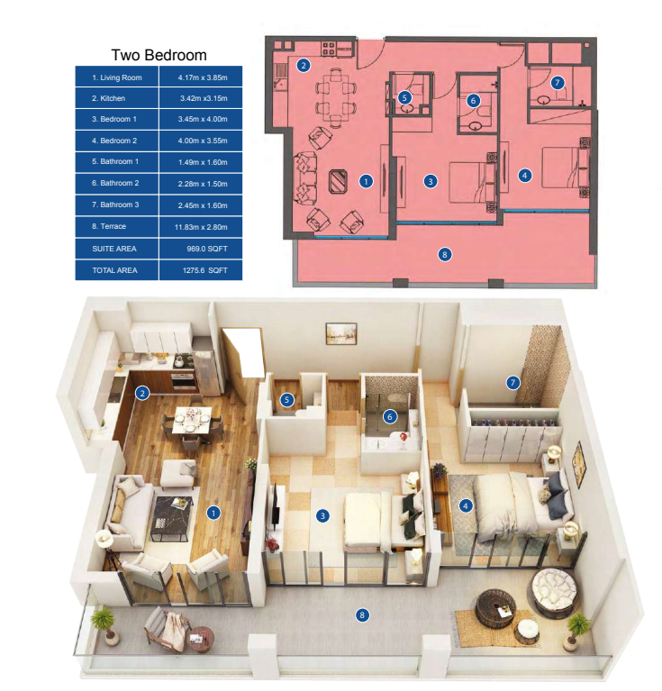 Planning of the apartment 2BR, 1275.6 in Park Avenue by Azizi, Dubai