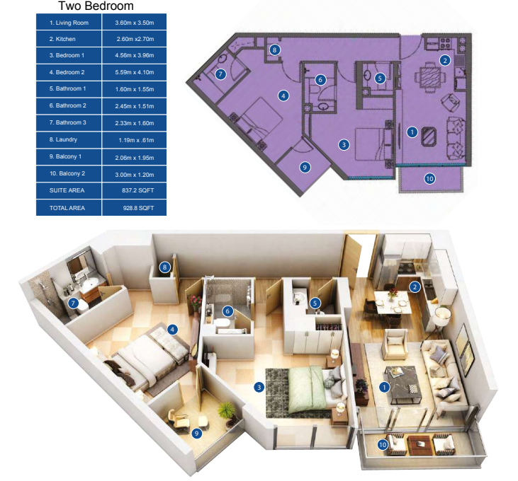 Planning of the apartment 2BR, 928.8 in Park Avenue by Azizi, Dubai