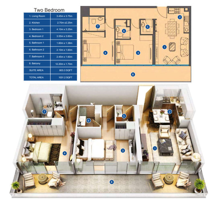 Planning of the apartment 2BR, 1031.2 in Park Avenue by Azizi, Dubai