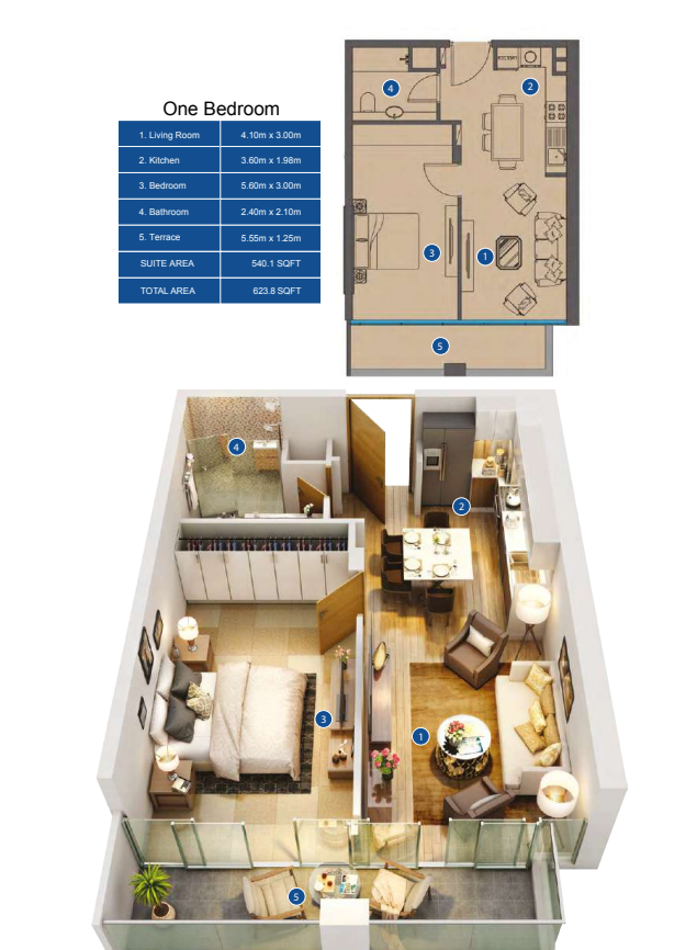 Planning of the apartment 1BR, 623.8 in Park Avenue by Azizi, Dubai