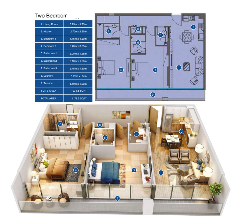 Planning of the apartment 2BR, 1176.5 in Park Avenue by Azizi, Dubai