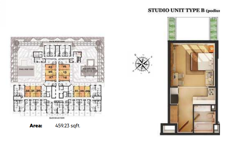 Planning of the apartment Studios, 459.23 in Roy Mediterranean Serviced Apartments, Dubai