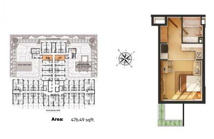 Planning of the apartment Studios, 476.49 in Roy Mediterranean Serviced Apartments, Dubai