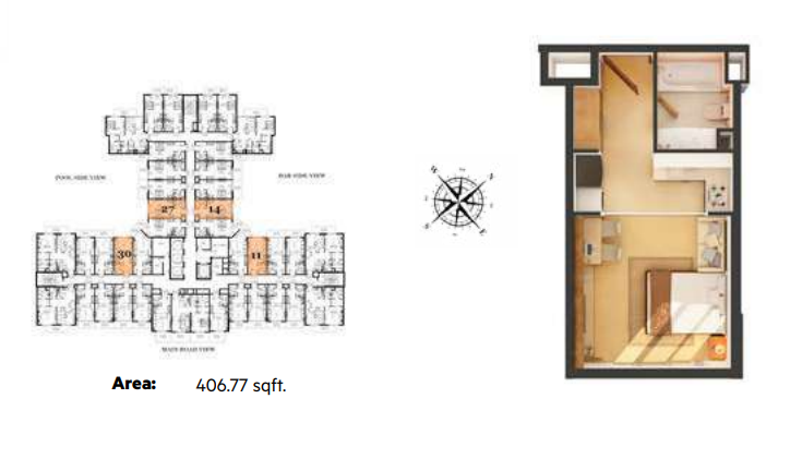 Planning of the apartment Studios, 406.77 in Roy Mediterranean Serviced Apartments, Dubai