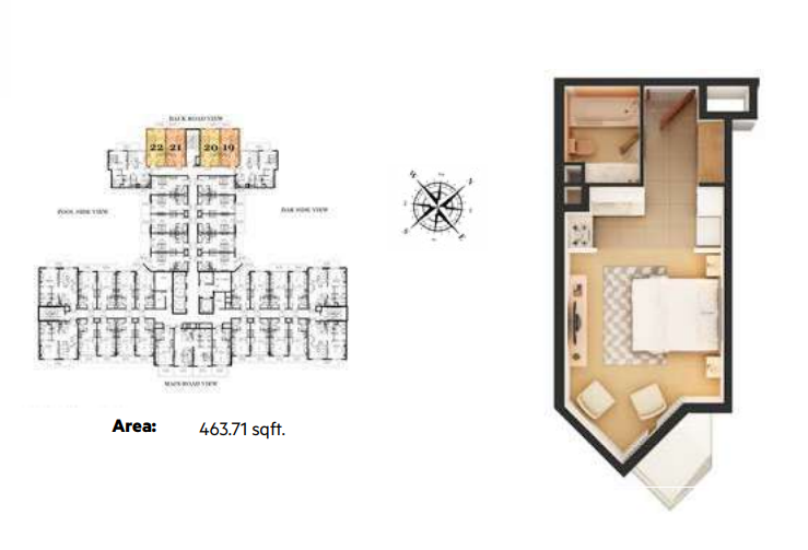 Planning of the apartment Studios, 463.71 in Roy Mediterranean Serviced Apartments, Dubai