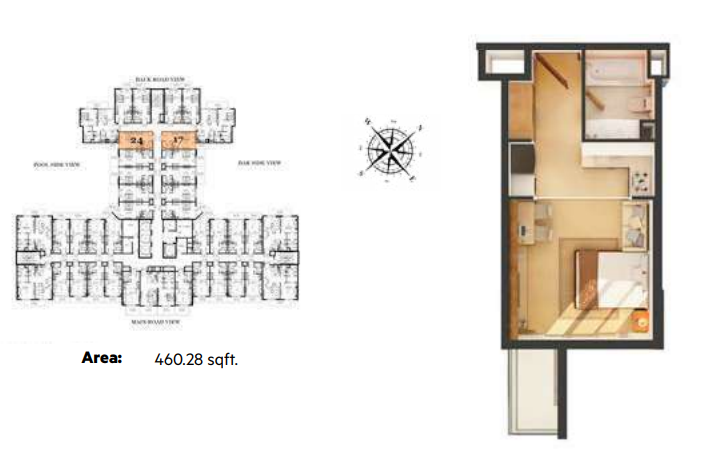 Planning of the apartment Studios, 460.28 in Roy Mediterranean Serviced Apartments, Dubai