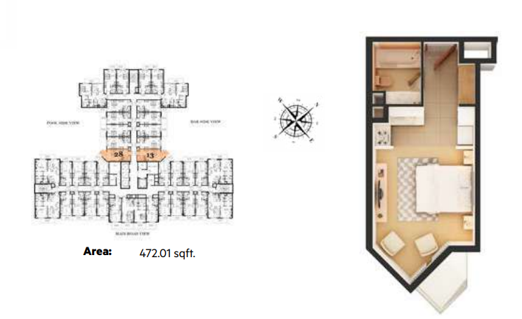 Planning of the apartment Studios, 472.01 in Roy Mediterranean Serviced Apartments, Dubai