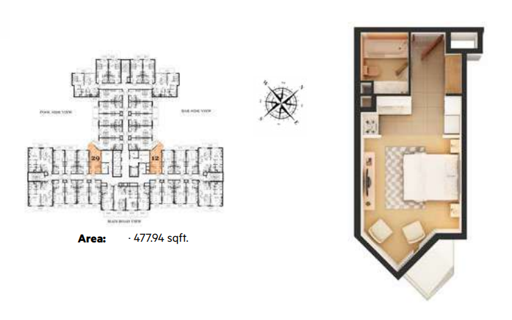 Planning of the apartment Studios, 477.94 in Roy Mediterranean Serviced Apartments, Dubai