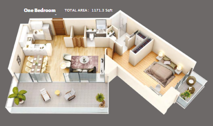 Planning of the apartment 1BR, 1171.3 in Azizi Mirage 1, Dubai
