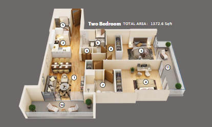Planning of the apartment 2BR, 1372.6 in Azizi Mirage 1, Dubai
