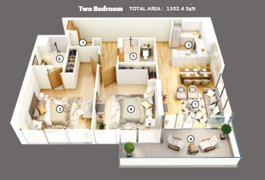 Planning of the apartment 2BR, 1302.4 in Azizi Mirage 1, Dubai