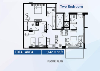 Planning of the apartment 2BR, 1142.71 in Azizi Aura Residence, Dubai