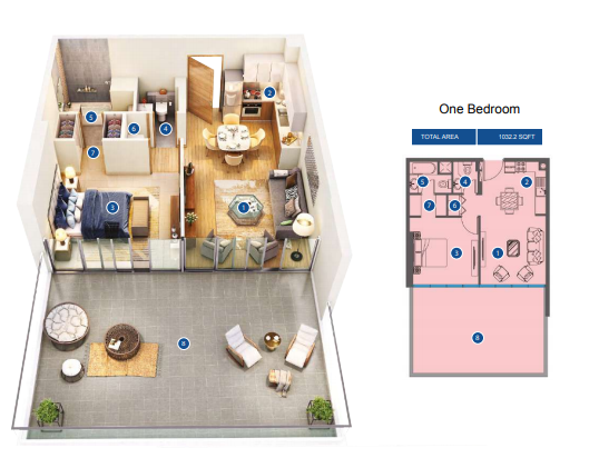 Planning of the apartment 1BR, 1052.2 in Azizi Greenfield, Dubai