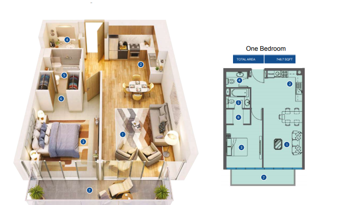 Planning of the apartment 1BR, 746.7 in Azizi Greenfield, Dubai