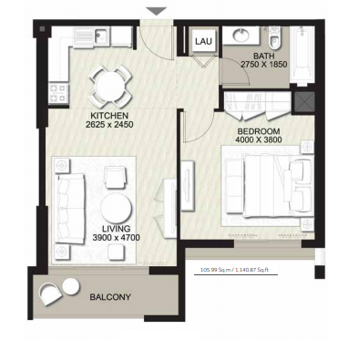 Planning of the apartment 1BR, 1140.87 in Rawda Apartments, Dubai