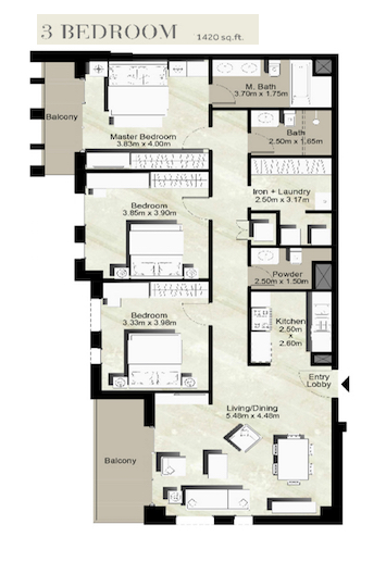 Planning of the apartment 3BR, 1420 in Zahra Breeze, Dubai