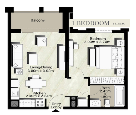 Planning of the apartment 1BR, 621 in Zahra Breeze, Dubai