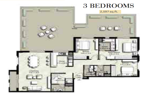 Planning of the apartment 3BR, 2597 in Zahra, Dubai