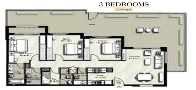 Planning of the apartment 3BR, 2258 in Zahra, Dubai