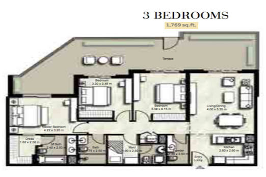 Planning of the apartment 3BR, 1769 in Zahra, Dubai