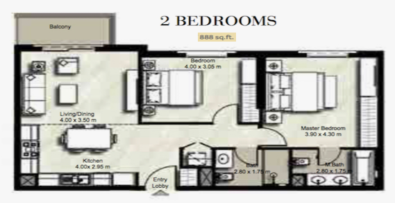 Planning of the apartment 2BR, 888 in Zahra, Dubai