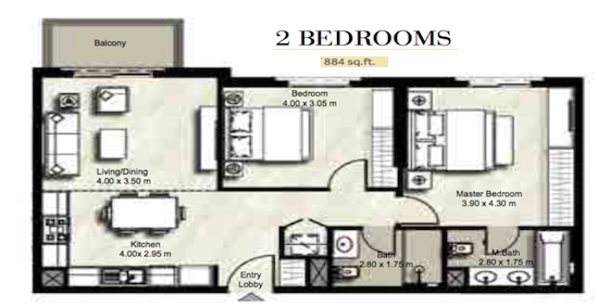 Planning of the apartment 2BR, 884 in Zahra, Dubai