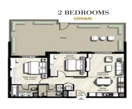 Planning of the apartment 2BR, 1474 in Zahra, Dubai