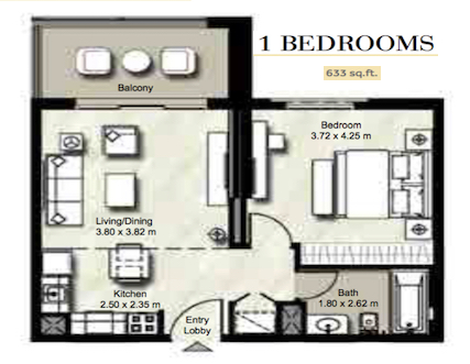 Planning of the apartment 1BR, 633 in Zahra, Dubai
