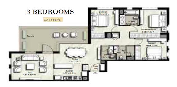 Planning of the apartment 3BR, 1474 in Zahra, Dubai