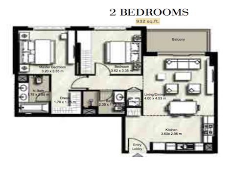 Planning of the apartment 2BR, 932 in Zahra, Dubai