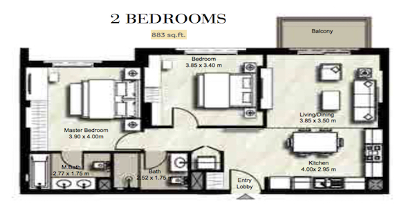 Planning of the apartment 2BR, 883 in Zahra, Dubai