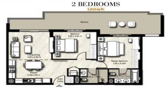Planning of the apartment 2BR, 1214 in Zahra, Dubai