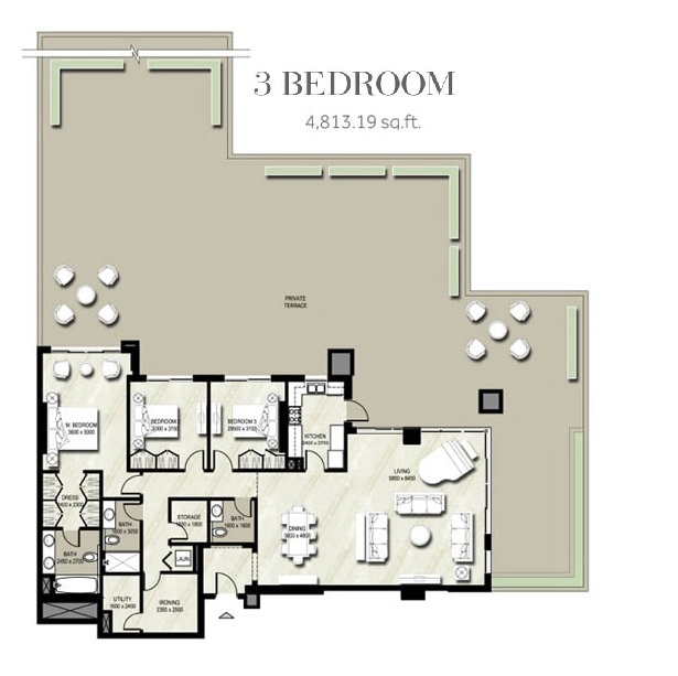 Planning of the apartment 3BR, 4813.19 in Warda, Dubai