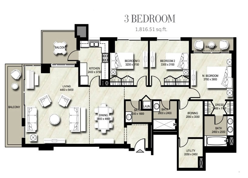 Planning of the apartment 3BR, 1816.51 in Warda, Dubai