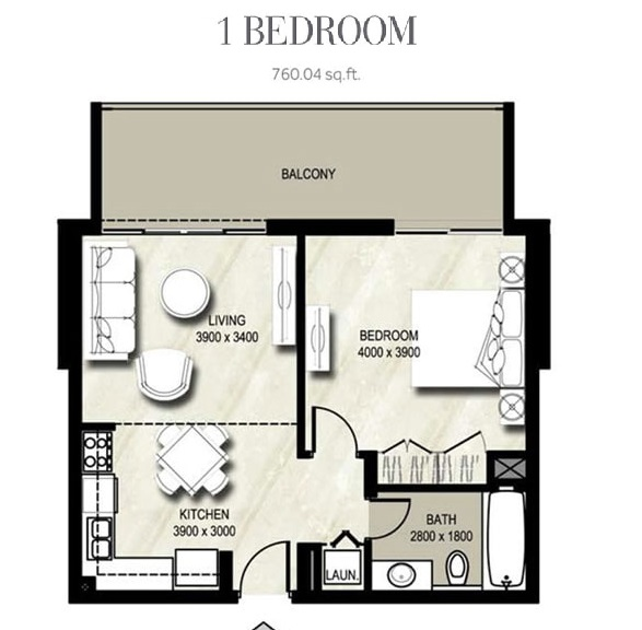 Planning of the apartment 1BR, 760.04 in Warda, Dubai