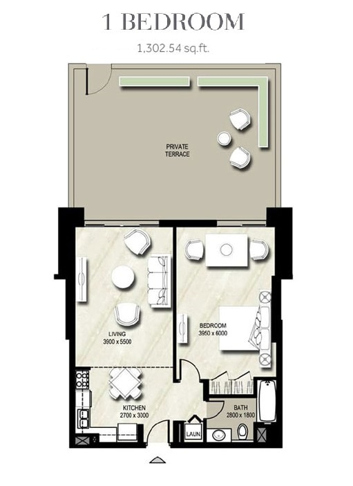 Planning of the apartment 1BR, 1302.54 in Warda, Dubai