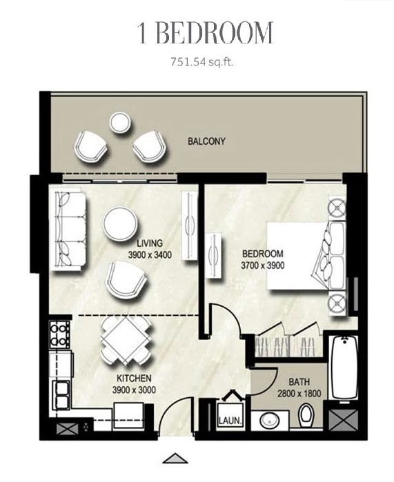 Planning of the apartment 1BR, 751.54 in Warda, Dubai
