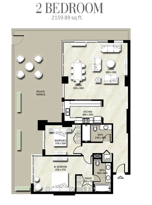 Planning of the apartment 2BR, 2159.89 in Warda, Dubai