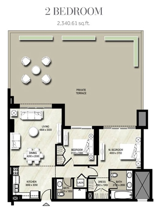 Planning of the apartment 2BR, 2340.61 in Warda, Dubai