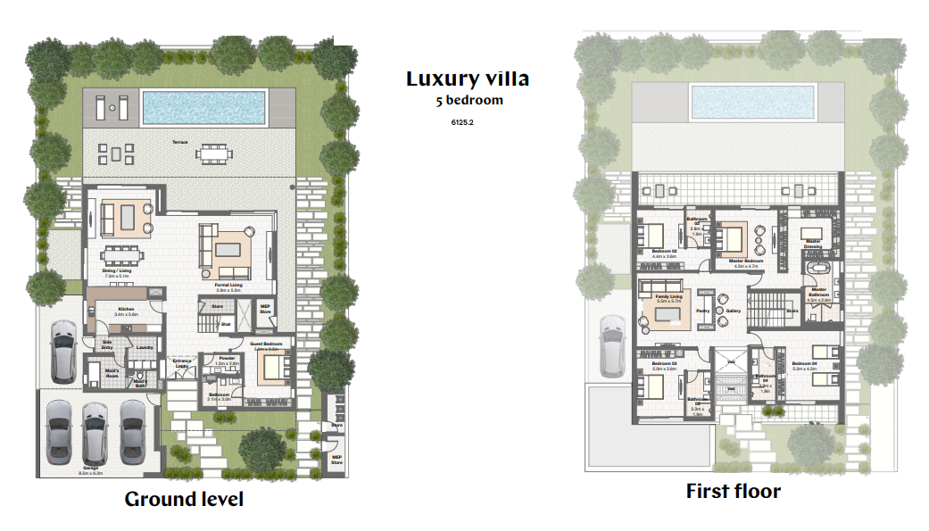 Planning of the apartment Villas 5BR, 6125.2 in Harmony Bungalows and Villas, Dubai