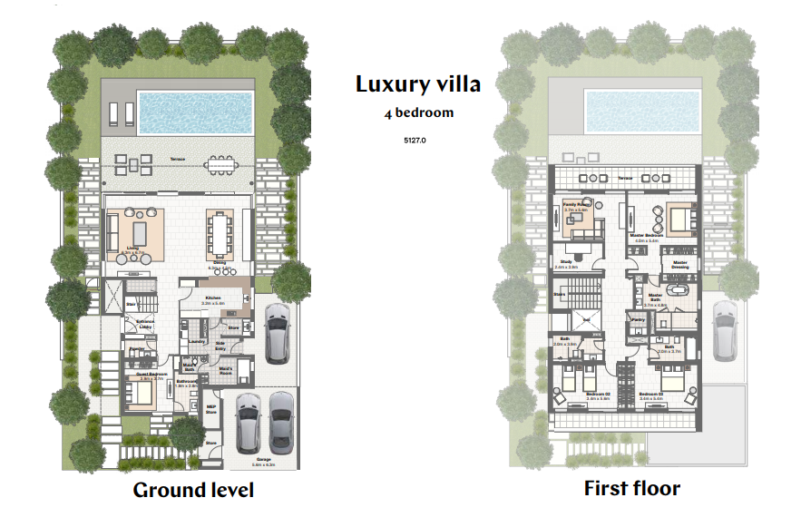 Planning of the apartment Villas 4BR, 5127 in Harmony Bungalows and Villas, Dubai