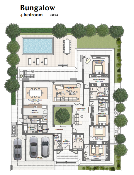 Planning of the apartment Villas 4BR, 3884.2 in Harmony Bungalows and Villas, Dubai