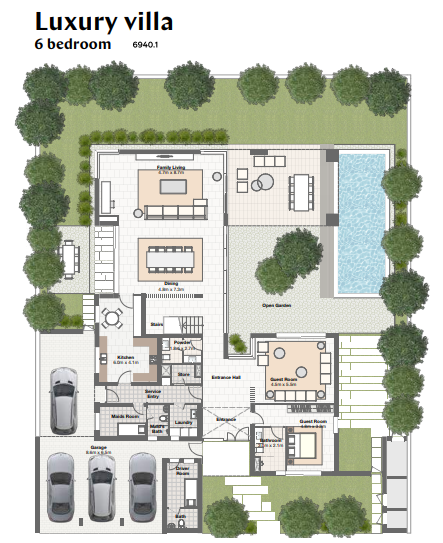 Planning of the apartment Villas 6BR, 6940.1 in Harmony Bungalows and Villas, Dubai