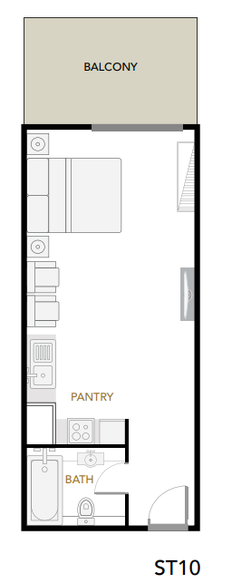 Planning of the apartment Studios, 407 in Plazzo Heights, Dubai