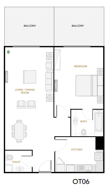 Planning of the apartment 1BR, 1045 in Plazzo Heights, Dubai